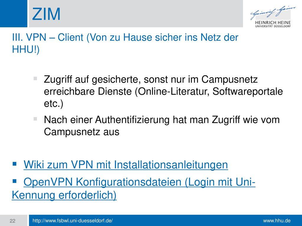 ZIM Wiki zum VPN mit Installationsanleitungen