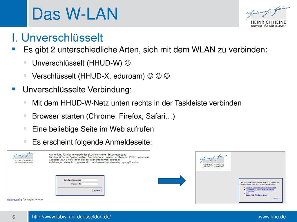 Das W-LAN I. Unverschlüsselt