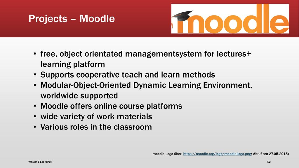 Projects – Moodle free, object orientated managementsystem for lectures+ learning platform. Supports cooperative teach and learn methods.