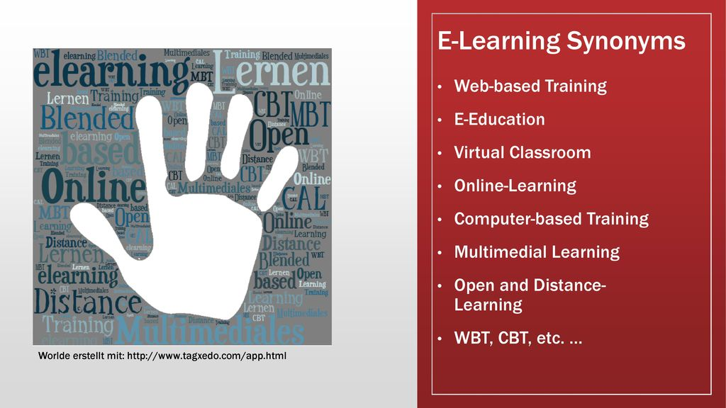 E-Learning Synonyms Web-based Training E-Education Virtual Classroom