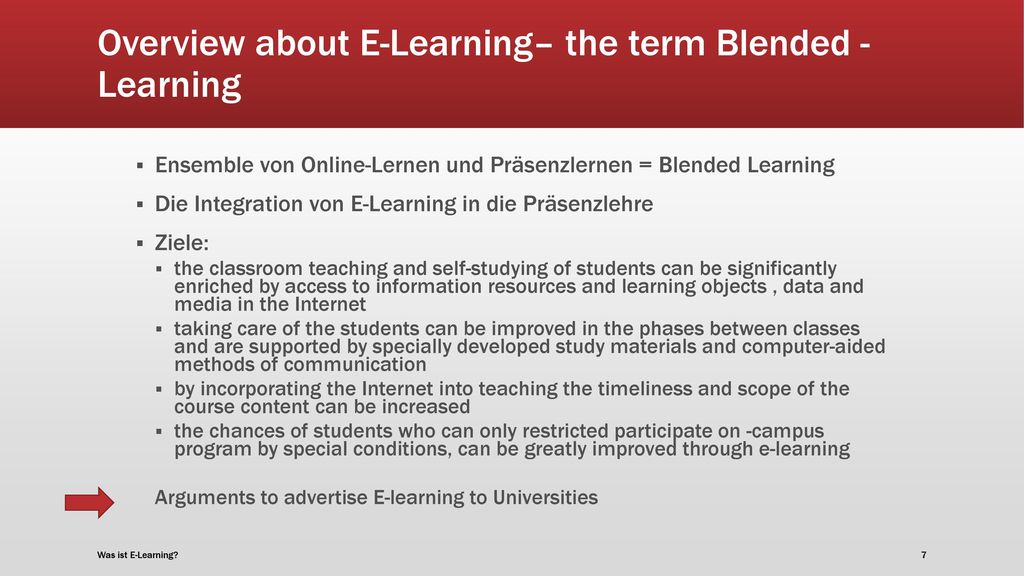 Overview about E-Learning– the term Blended -Learning