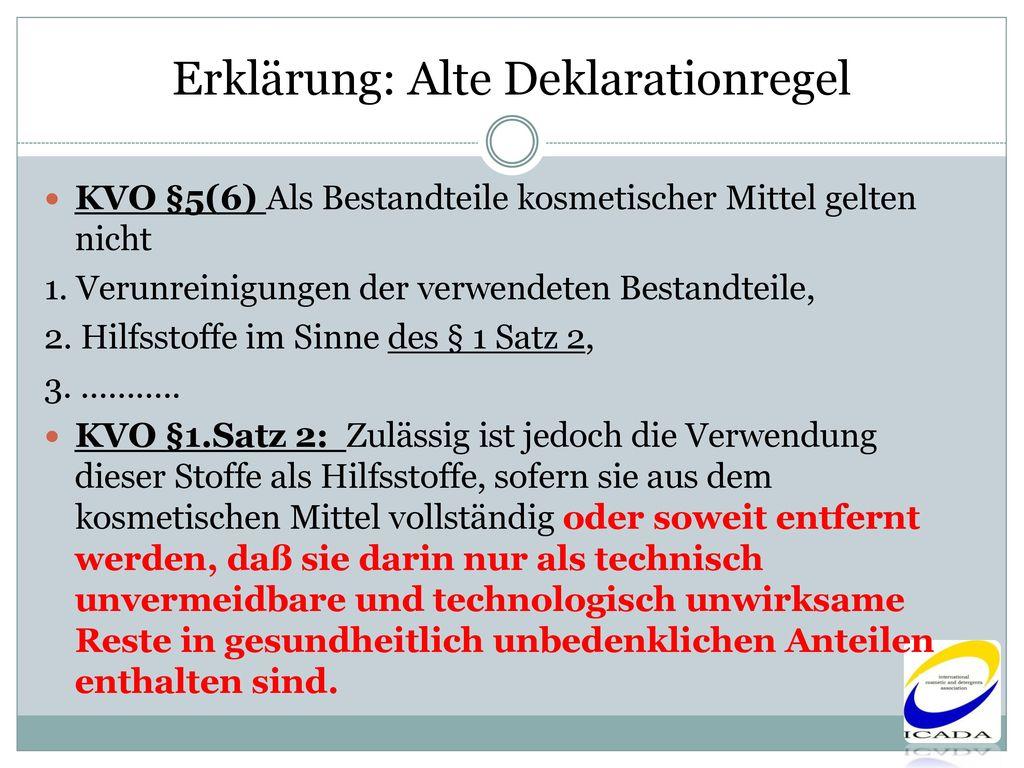 Erklärung: Alte Deklarationregel