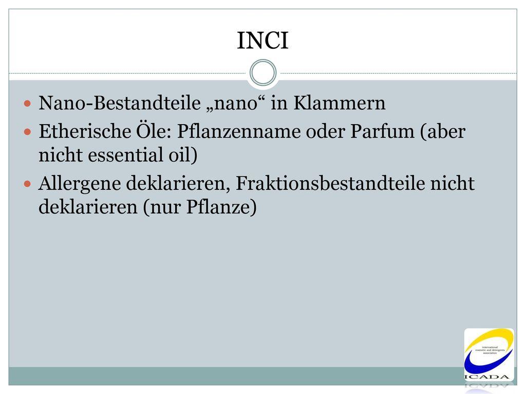 "INCI Nano-Bestandteile ""nano in Klammern"