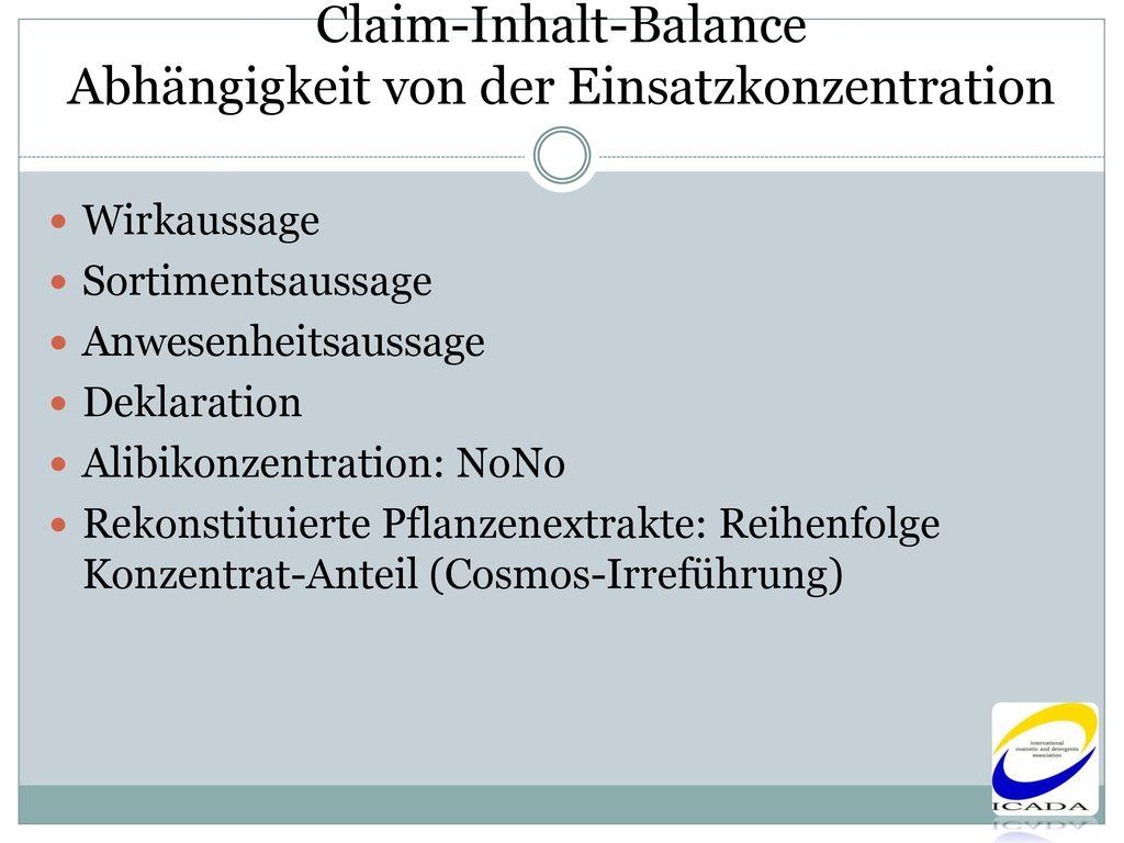 Claim-Inhalt-Balance Abhängigkeit von der Einsatzkonzentration