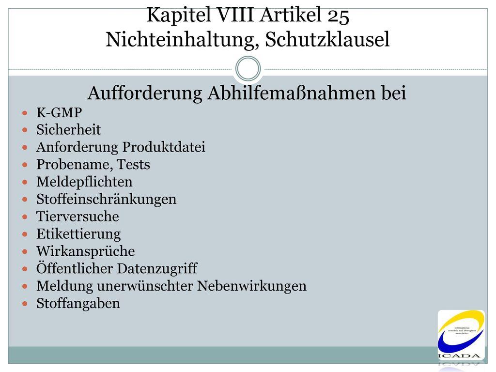 Kapitel VIII Artikel 25 Nichteinhaltung, Schutzklausel