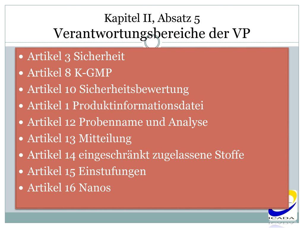 Kapitel II, Absatz 5 Verantwortungsbereiche der VP