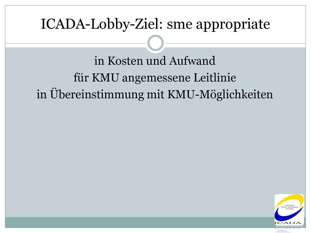 ICADA-Lobby-Ziel: sme appropriate