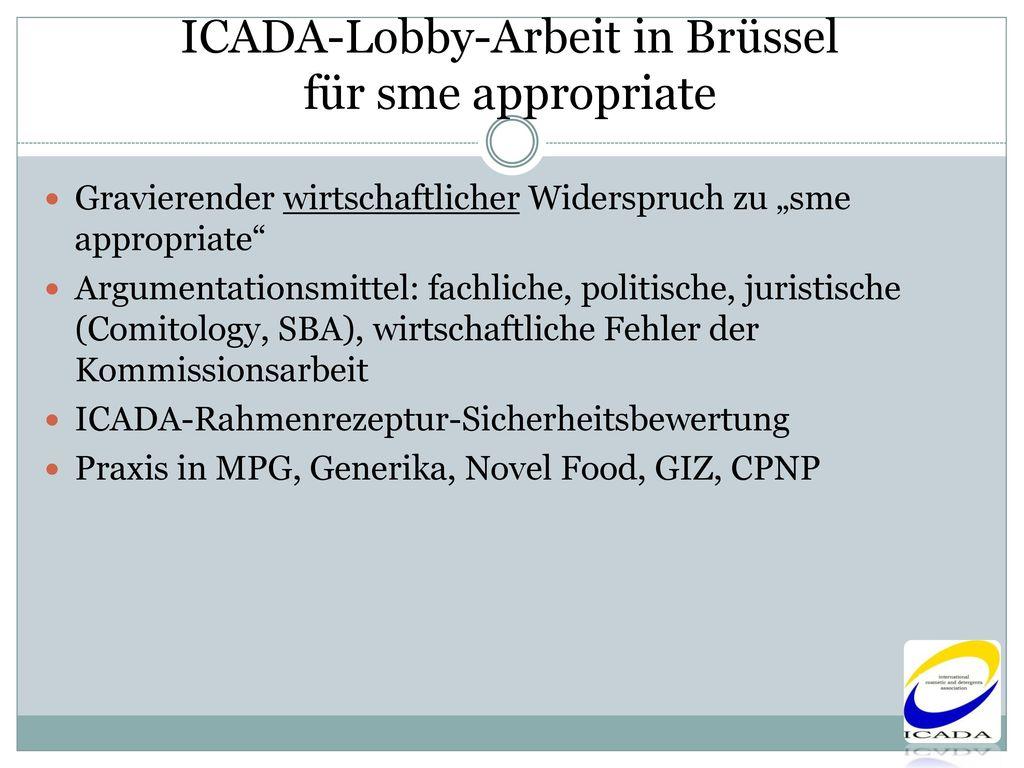 ICADA-Lobby-Arbeit in Brüssel für sme appropriate