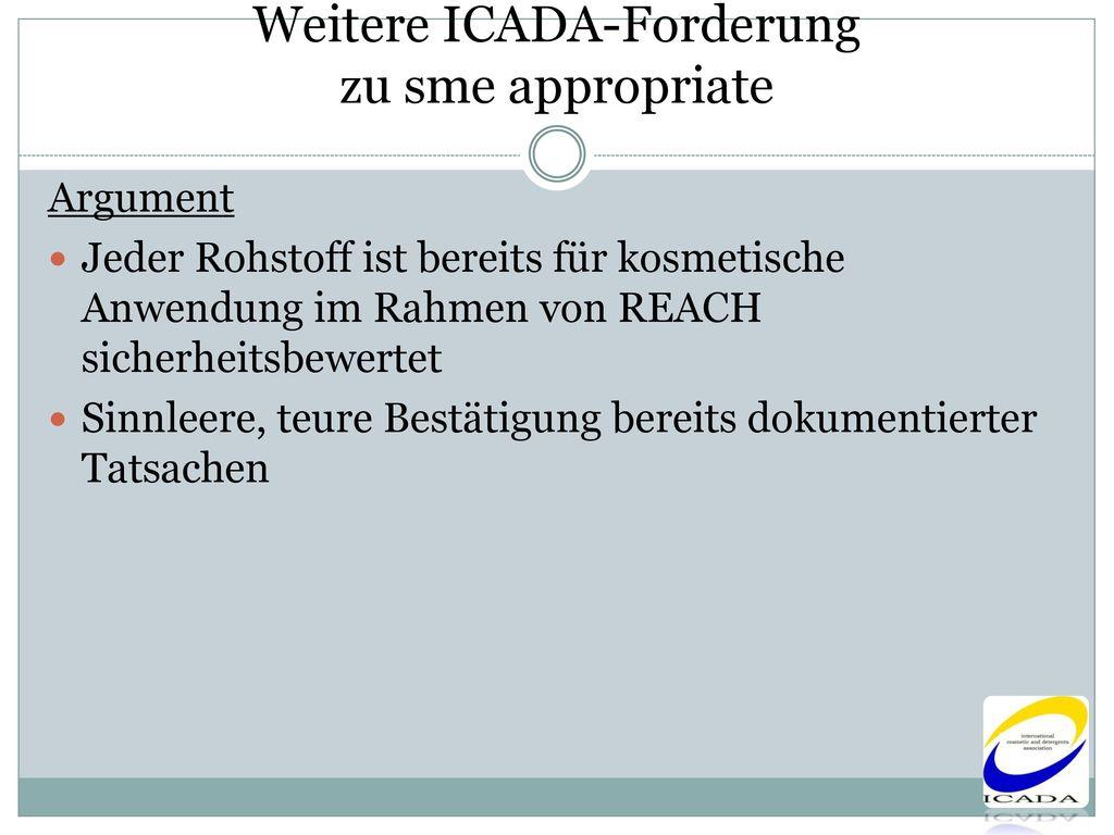 Weitere ICADA-Forderung zu sme appropriate