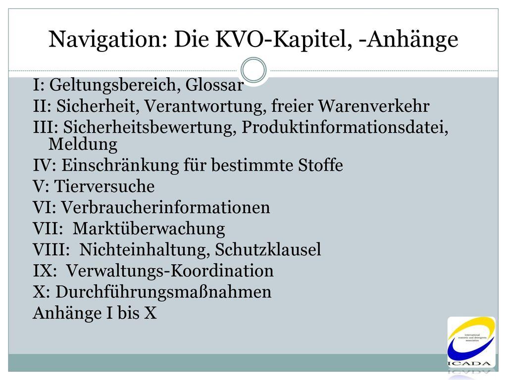 Navigation: Die KVO-Kapitel, -Anhänge