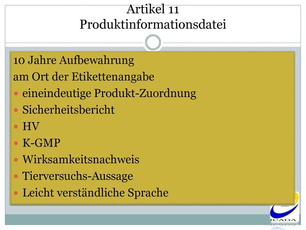 Artikel 11 Produktinformationsdatei