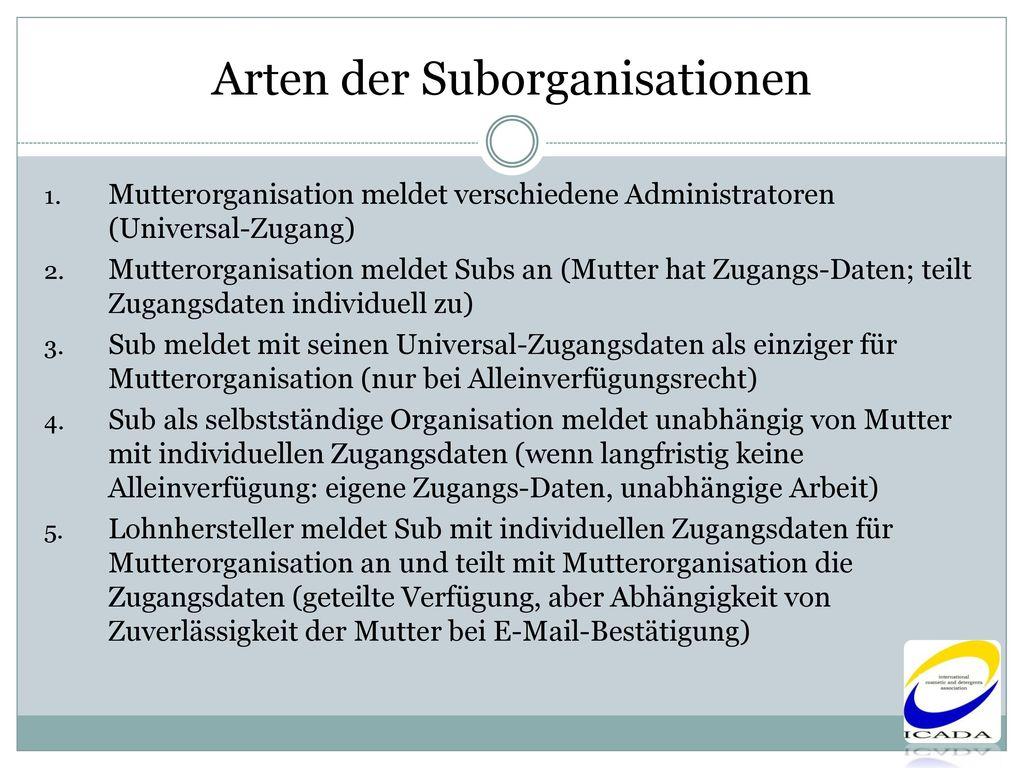 Arten der Suborganisationen