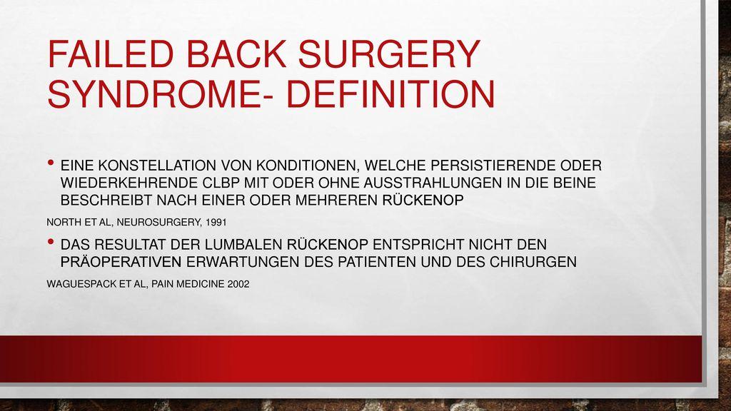 Failed back surgery syndrome- definition