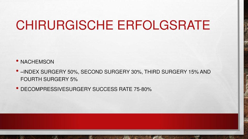Chirurgische erfolgsrate