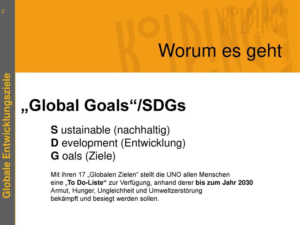 """Worum es geht """"Global Goals /SDGs"""