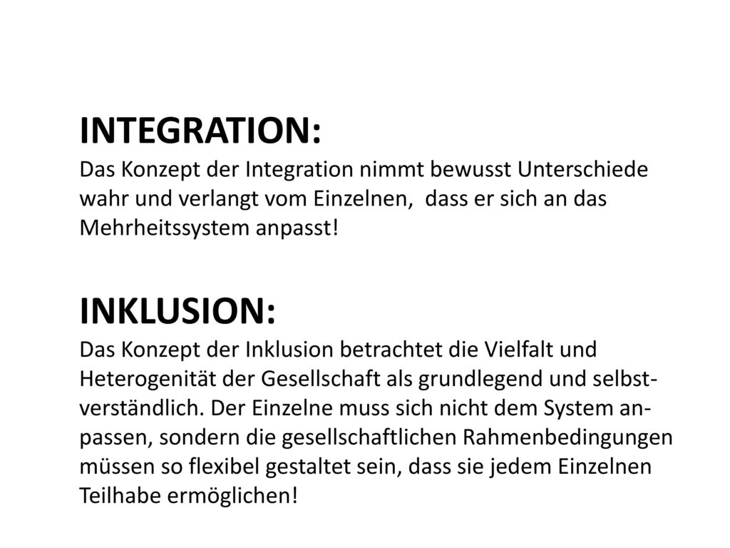 INTEGRATION: INKLUSION: