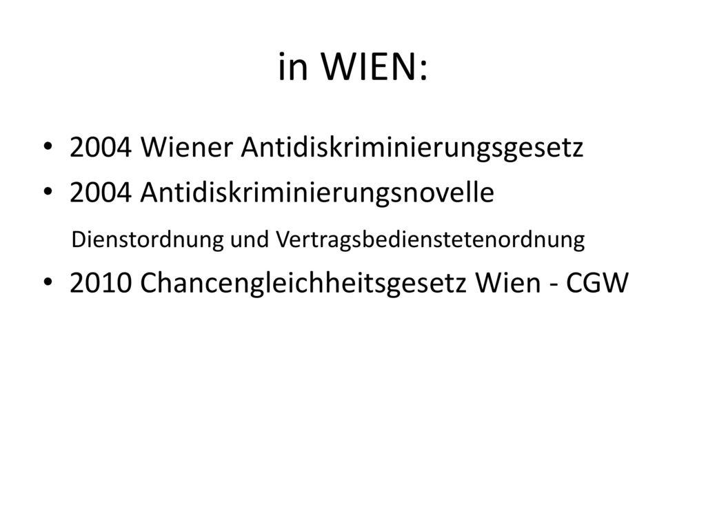 in WIEN: 2004 Wiener Antidiskriminierungsgesetz