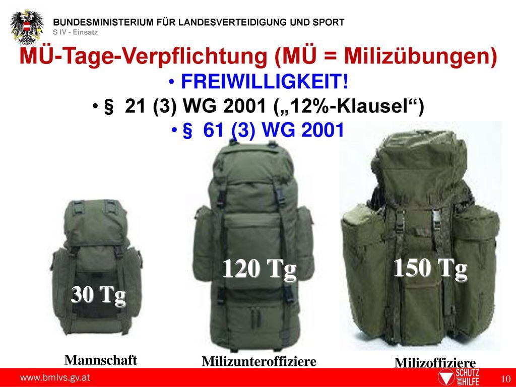 MÜ-Tage-Verpflichtung (MÜ = Milizübungen)
