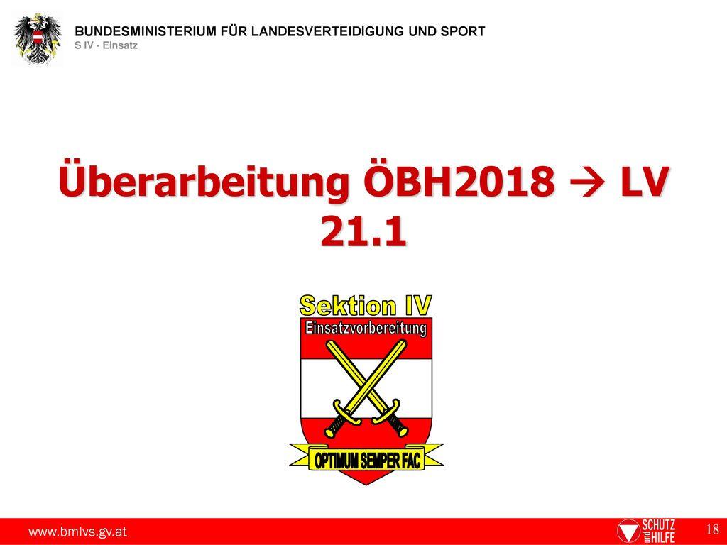 Überarbeitung ÖBH2018  LV 21.1 Sektion IV Einsatzvorbereitung