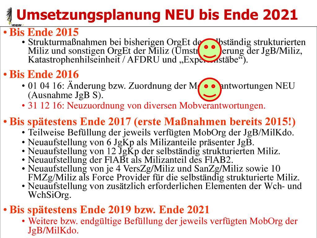 Umsetzungsplanung NEU bis Ende 2021