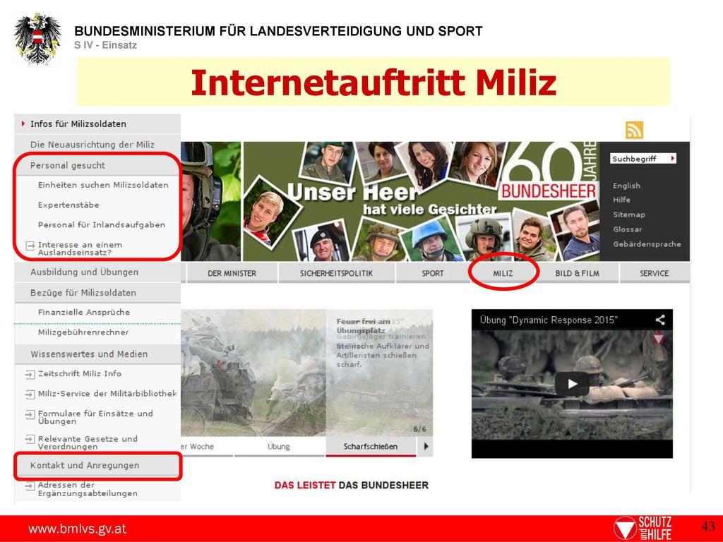 Internetauftritt Miliz