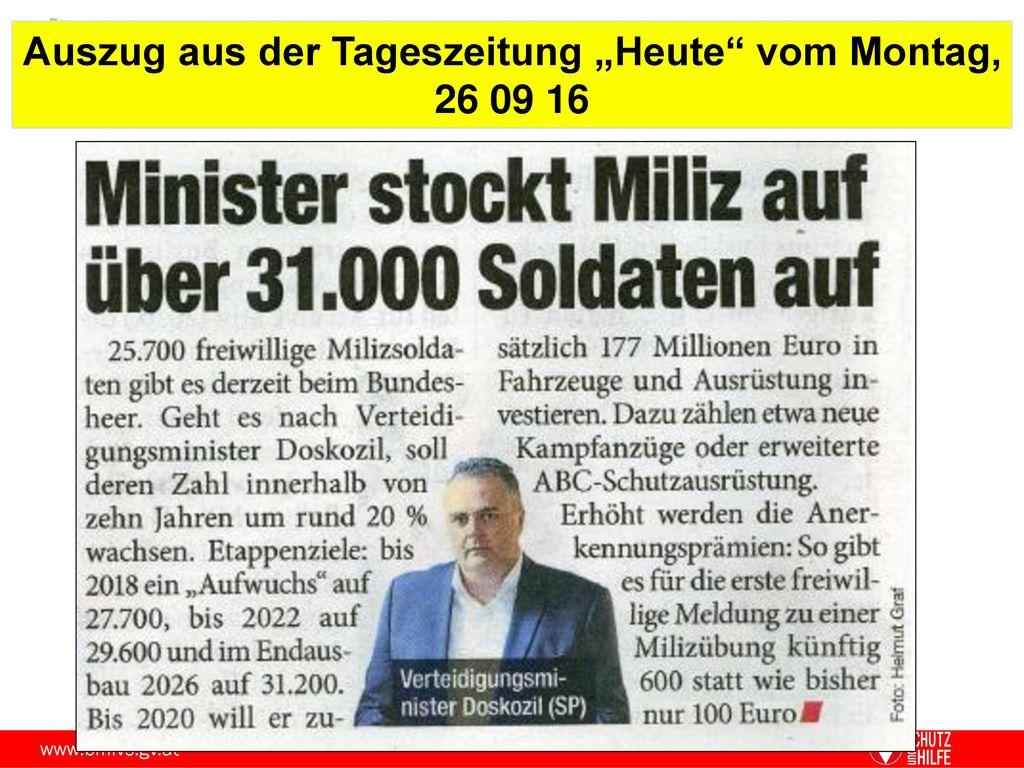"""Auszug aus der Tageszeitung """"Heute vom Montag, 26 09 16"""