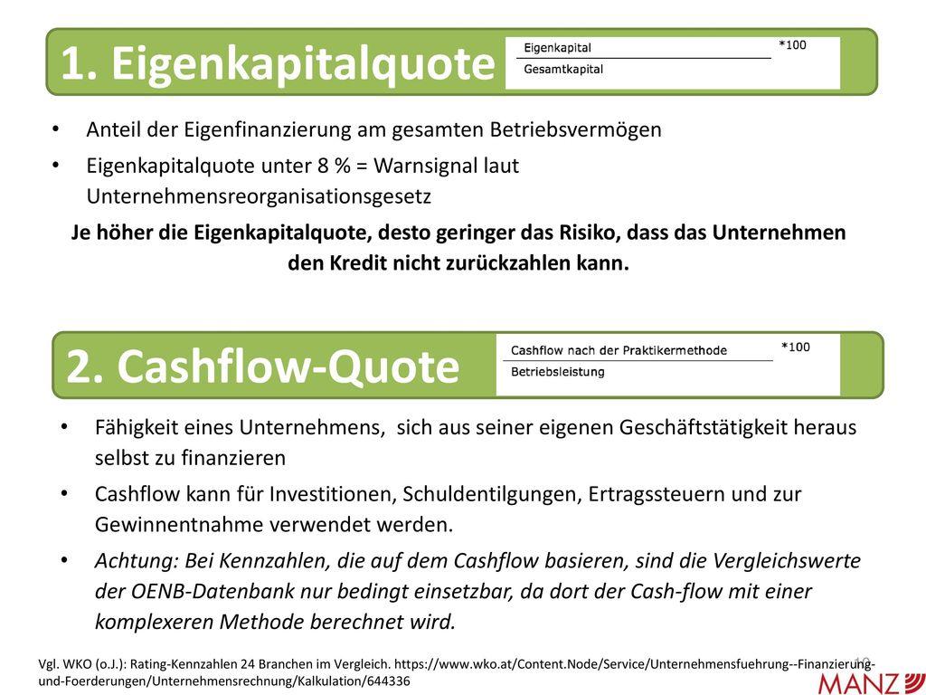 1. Eigenkapitalquote 2. Cashflow-Quote