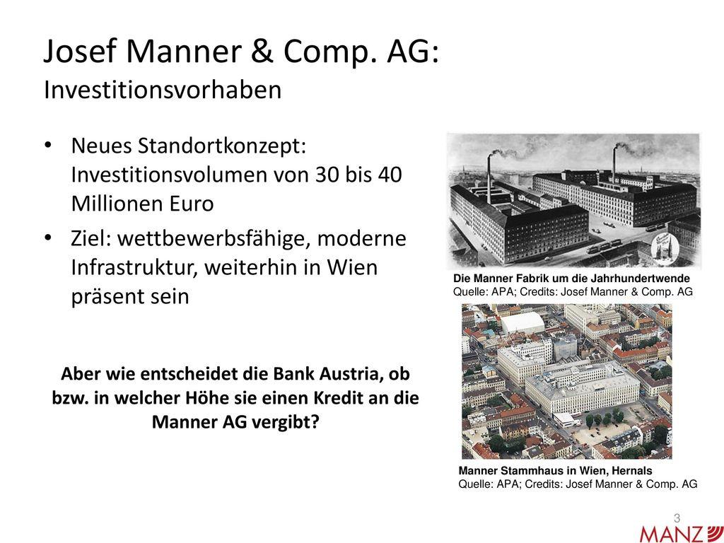 Josef Manner & Comp. AG: Investitionsvorhaben