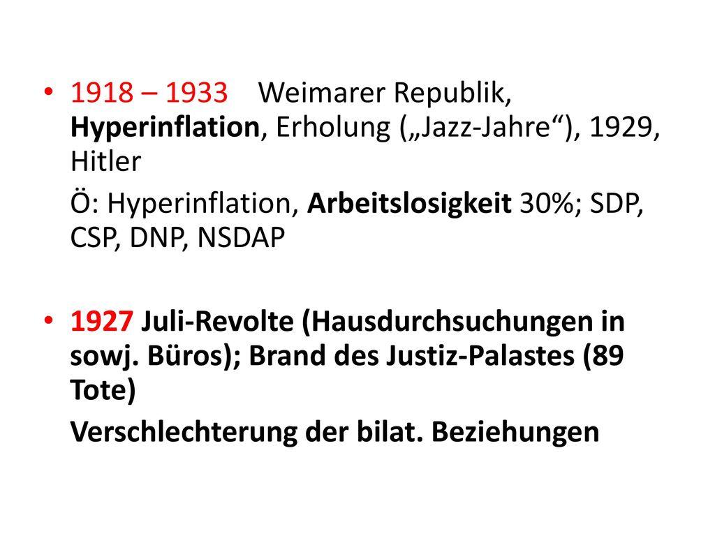 """1918 – 1933 Weimarer Republik, Hyperinflation, Erholung (""""Jazz-Jahre ), 1929, Hitler"""