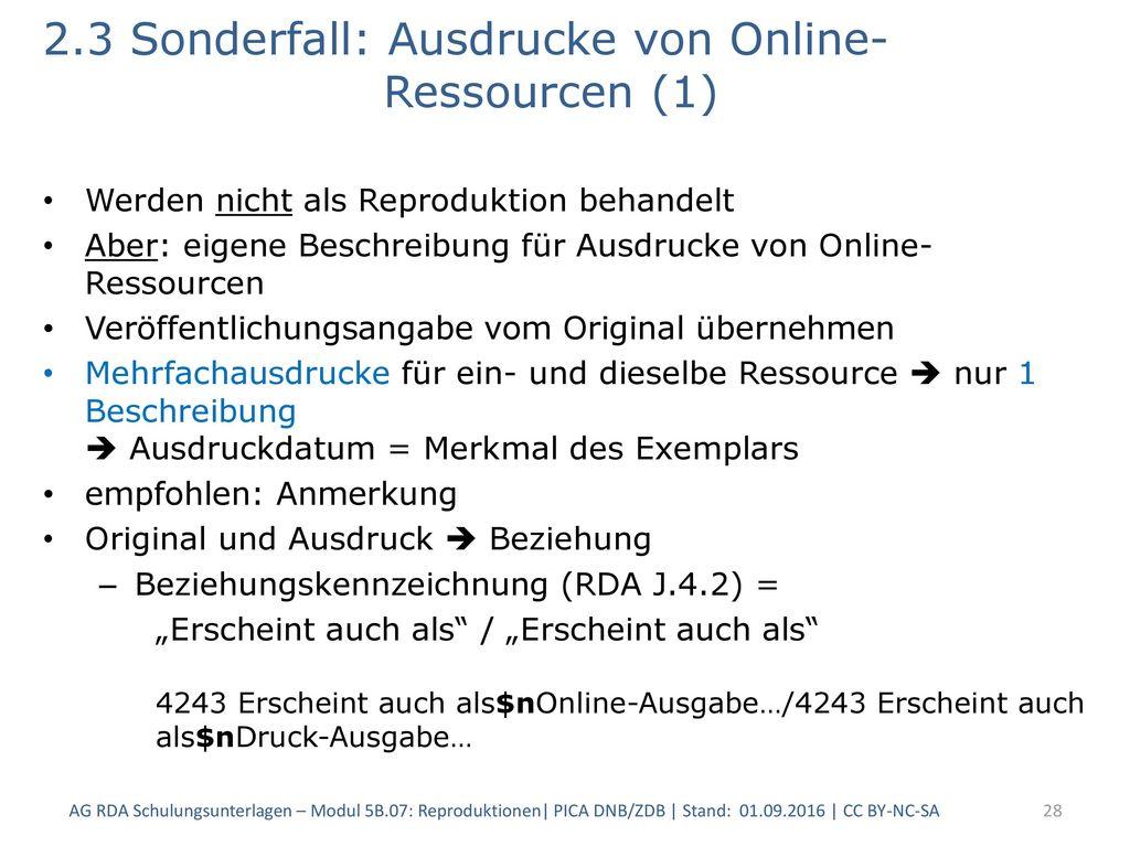 2.3 Sonderfall: Ausdrucke von Online- Ressourcen (1)