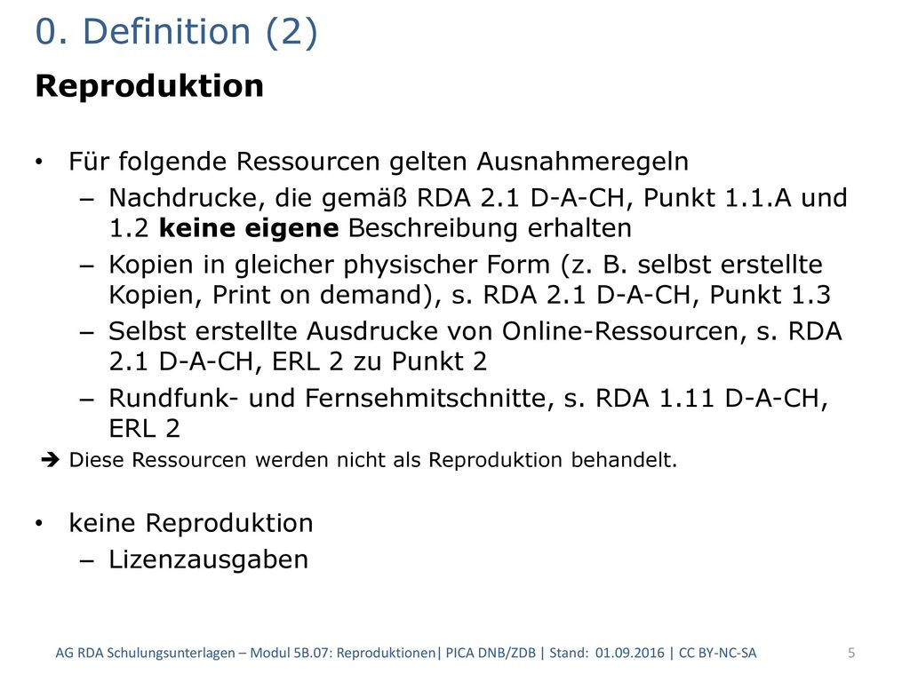 0. Definition (2) Reproduktion
