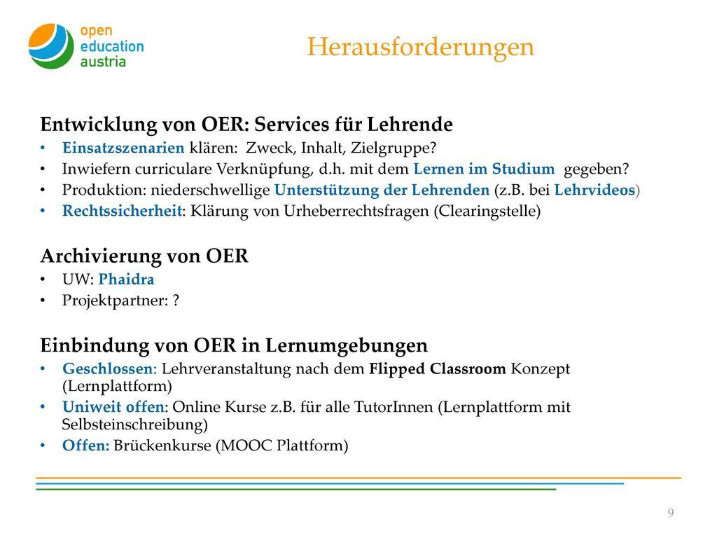 Herausforderungen Entwicklung von OER: Services für Lehrende