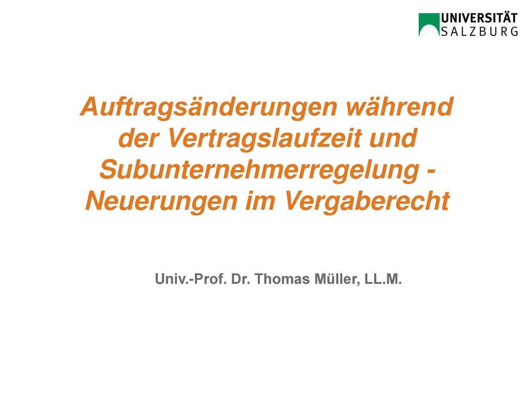 Univ.-Prof. Dr. Thomas Müller, LL.M.