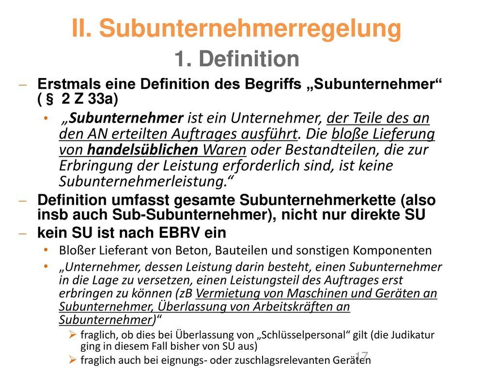 II. Subunternehmerregelung