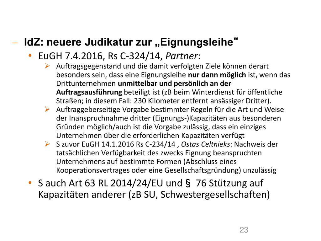 """IdZ: neuere Judikatur zur """"Eignungsleihe"""