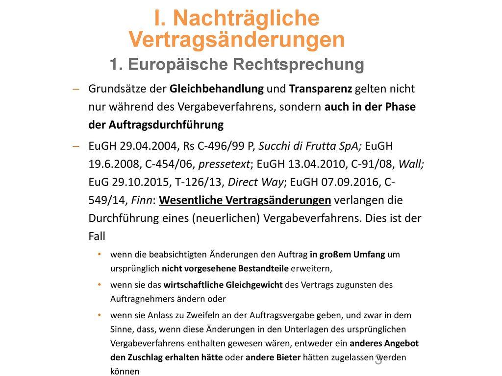 I. Nachträgliche Vertragsänderungen 1. Europäische Rechtsprechung