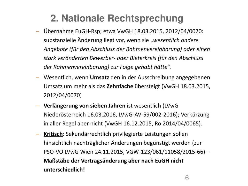 2. Nationale Rechtsprechung