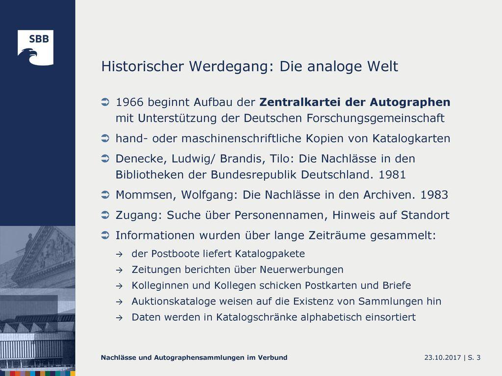 Historischer Werdegang: Die analoge Welt