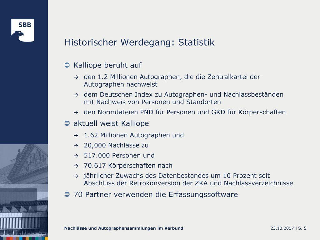 Historischer Werdegang: Statistik