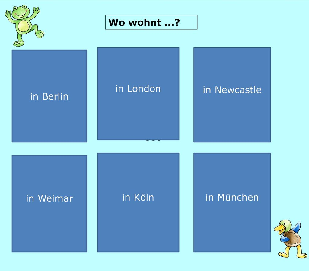Wo wohnt ... in London in Newcastle in Berlin in Köln in München