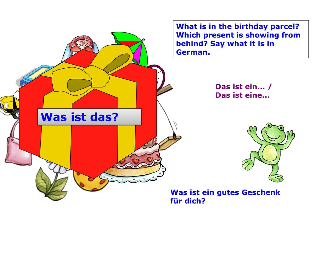 What is in the birthday parcel. Which present is showing from behind