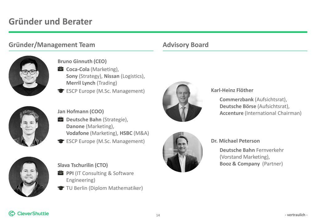 Gründer und Berater Gründer/Management Team Advisory Board