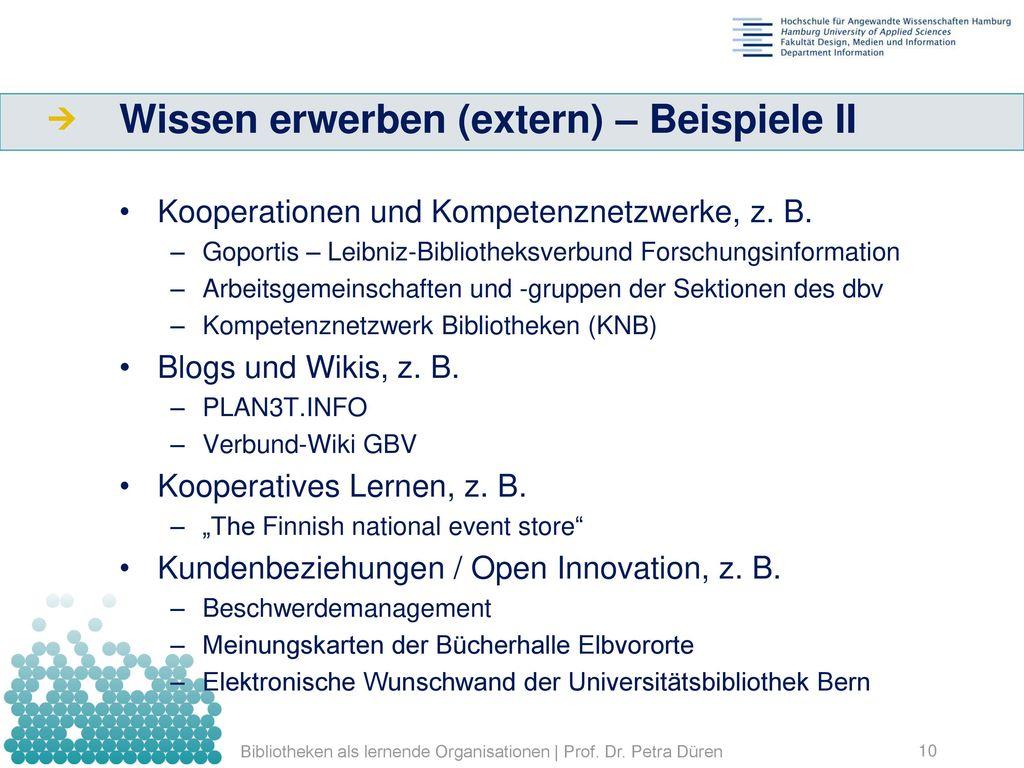 Wissen erwerben (extern) – Beispiele II