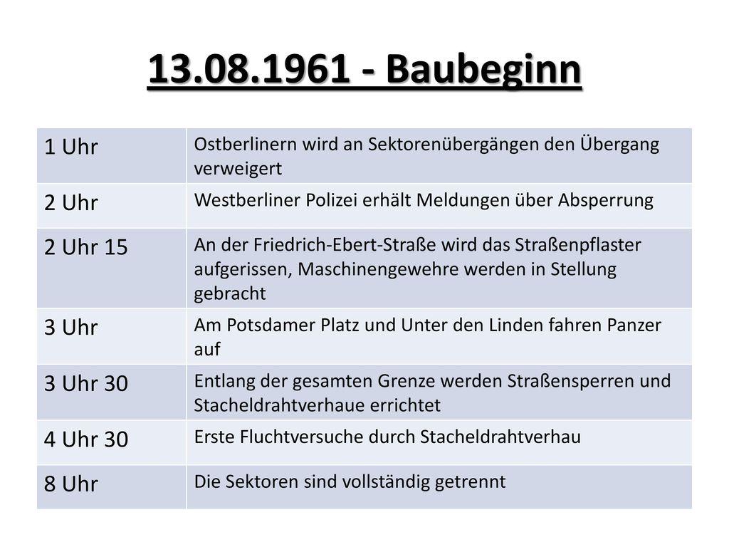 13.08.1961 - Baubeginn 1 Uhr 2 Uhr 2 Uhr 15 3 Uhr 3 Uhr 30 4 Uhr 30