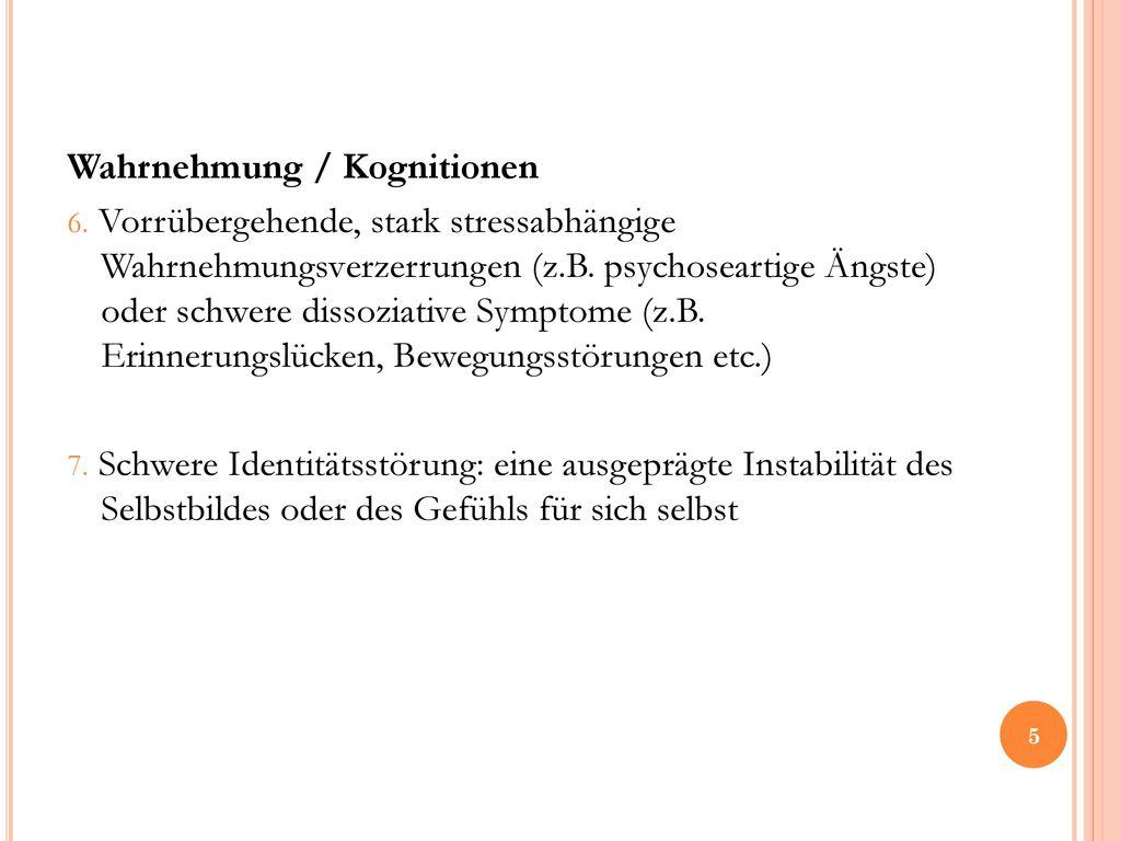 Wahrnehmung / Kognitionen