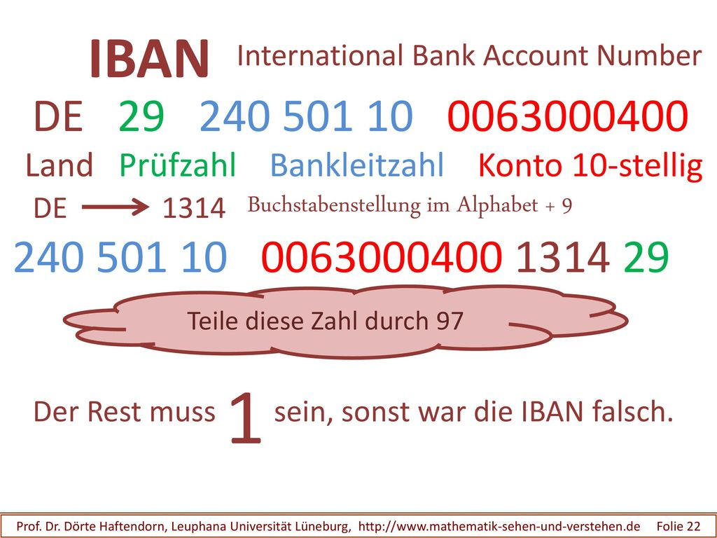 IBAN International Bank Account Number. DE Land Prüfzahl Bankleitzahl Konto 10-stellig.