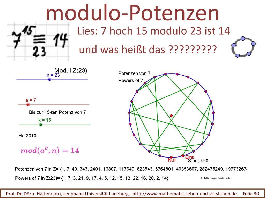 modulo-Potenzen Lies: 7 hoch 15 modulo 23 ist 14