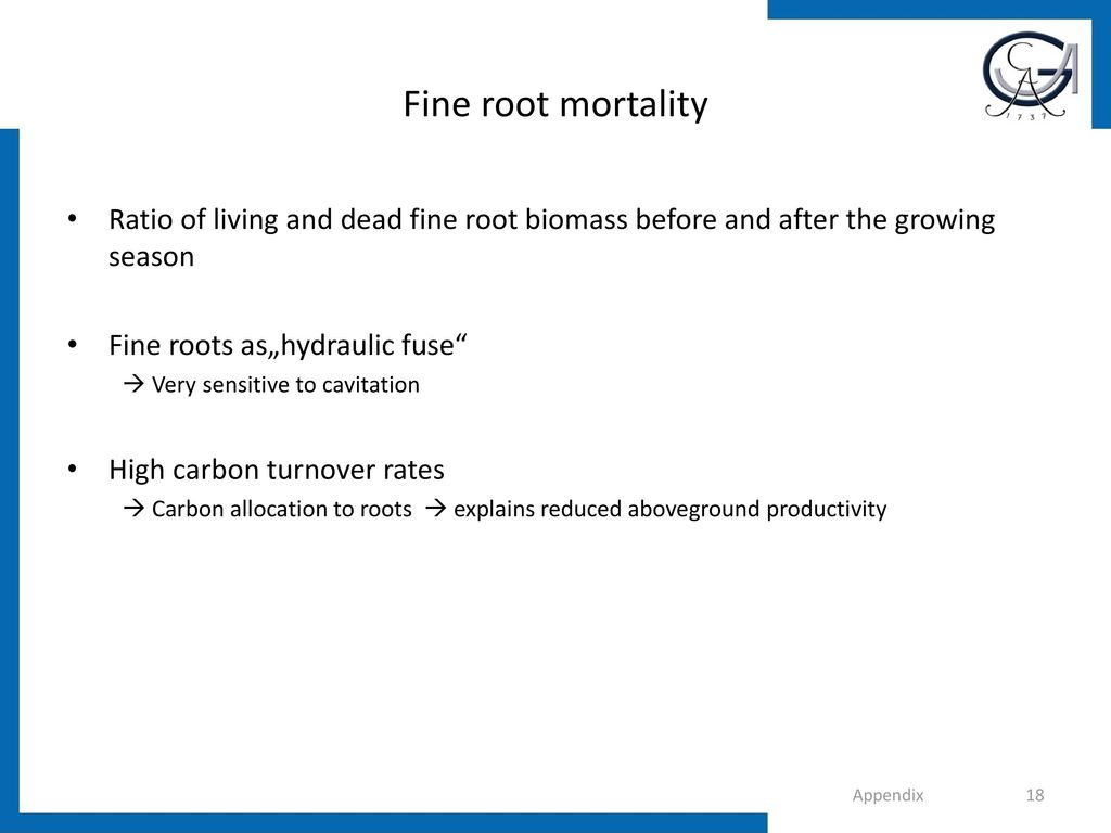 Fine root mortality Ratio of living and dead fine root biomass before and after the growing season.