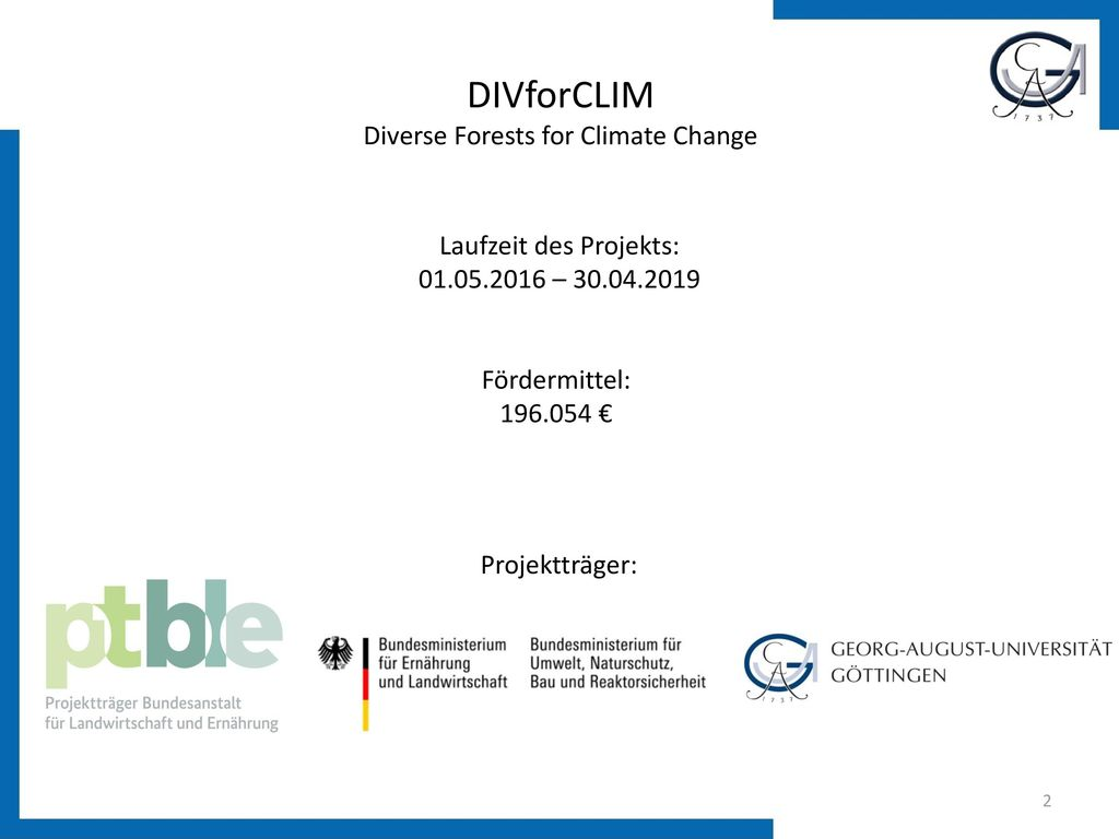 DIVforCLIM Diverse Forests for Climate Change