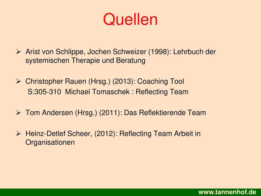 Quellen Arist von Schlippe, Jochen Schweizer (1998): Lehrbuch der systemischen Therapie und Beratung.